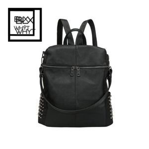 Fashion Women Backpack Pu Leather Zipper Adjustable Strap Solid Causal Ol Shoulder Bag Handbag Black