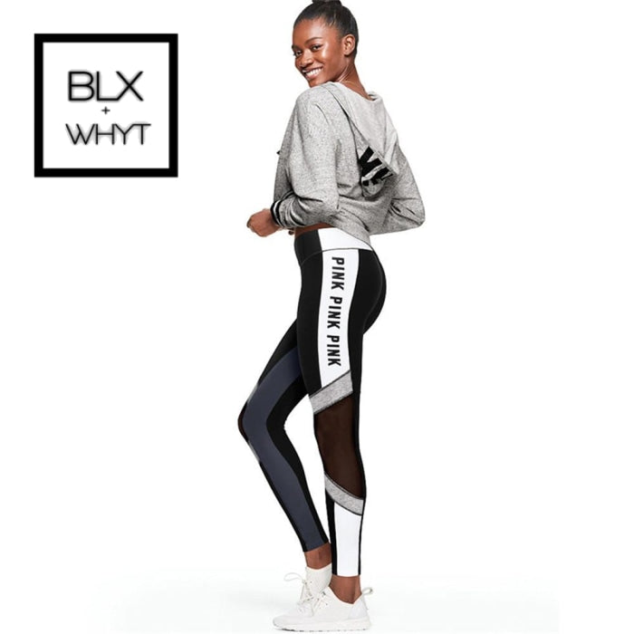 Fccexio 2019 Women Love Pink Letter Print Workout Leggings High Waist Slim Pink Fitness Legging