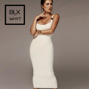 Glamaker Knitted Sexy Black Bodycon Dress Women White Long Summer Party Club Causal Elegant Office