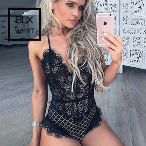 Hot Sheer Lace Bodysuit Women Eyelashes Mesh Jumpsuit Catsuit Transparent Bodysuits Thong Shein