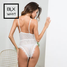Load image into Gallery viewer, Hot Sheer Lace Bodysuit Women Eyelashes Mesh Jumpsuit Catsuit Transparent Bodysuits Thong Shein