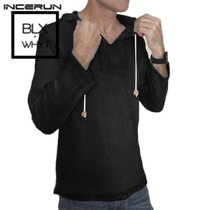 Incerun Casual Men Shirt Hooded Long Sleeve Cotton Solid Vintage Shirts Streetwear Tops Camisa