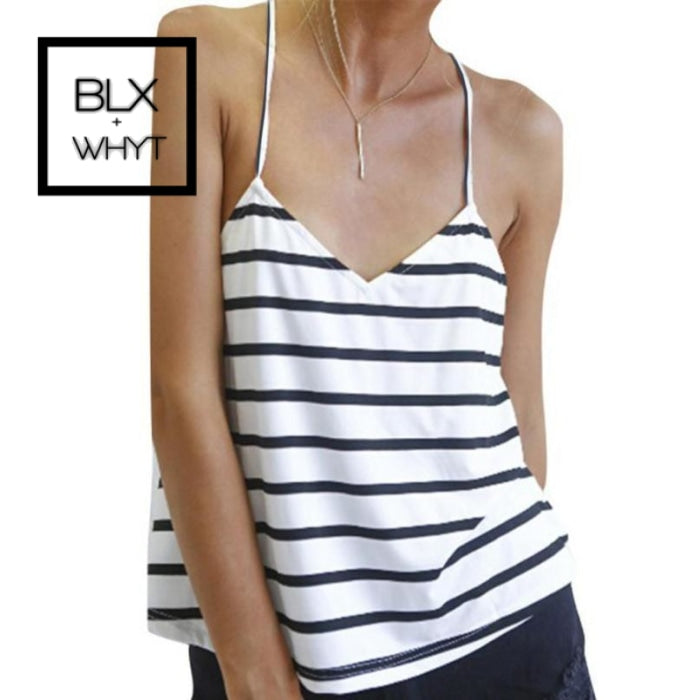 Jecksion Sexy Women Tank Tops 2016 Fashion Striped Backless T-Shirt Loose Sleeveless Camis White