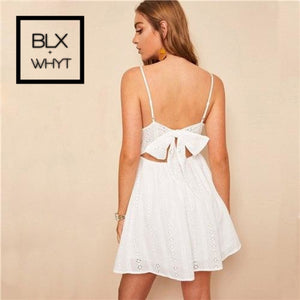 Knot Back Embroidery Eyelet Cami Dress Chic Women White Solid Summer 2019 Slip Spaghetti Strap Fit