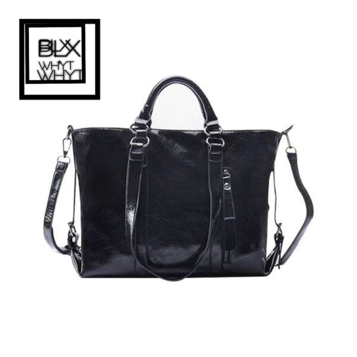 Leather Handbag Tote Bag Cross Body Black