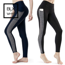 Load image into Gallery viewer, Leggings Women Fitness Workout Sportswear Skinny Push Up Pencil Pants Solid With Blocked Patchwork