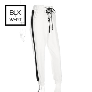Malianna 2018 Women Fashion Black White Patchwork Side Bandage Pants Pantalon Femme Drawstring