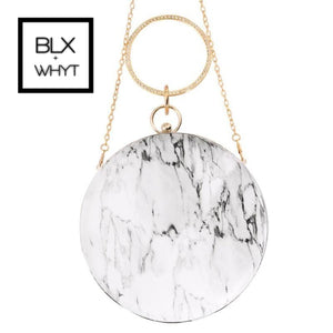 Marble Pattern Round Messenger Bag Women Small Handbag Pu Leather Crossbody Girls White Handbags