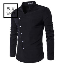 Load image into Gallery viewer, Mens Shirts 2019 New Slant Lapel Asymmetrical Small Stand-Up Collar Long-Sleeve Shirt Black / M