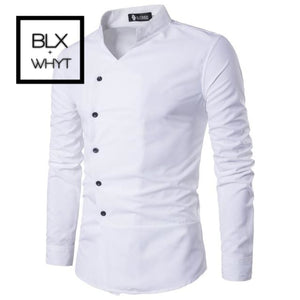 Mens Shirts 2019 New Slant Lapel Asymmetrical Small Stand-Up Collar Long-Sleeve Shirt White / M
