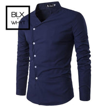 Load image into Gallery viewer, Mens Shirts 2019 New Slant Lapel Asymmetrical Small Stand-Up Collar Long-Sleeve Shirt