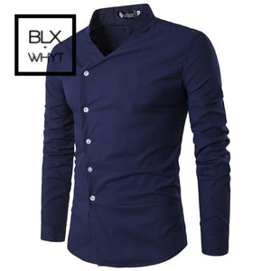 Mens Shirts 2019 New Slant Lapel Asymmetrical Small Stand-Up Collar Long-Sleeve Shirt