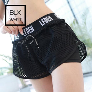 Mesh Causal Fitness Shorts Women Workout Running Gym For Ladies Short Compression Letter Loose White