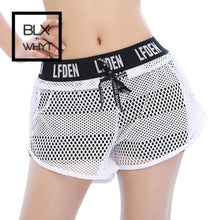 Load image into Gallery viewer, Mesh Causal Fitness Shorts Women Workout Running Gym For Ladies Short Compression Letter Loose White