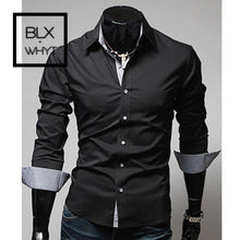 Load image into Gallery viewer, New Fashion Mens Luxury Stylish Casual Dress Shirts Long Sleeve Slim Fit Shirt Men Black / M