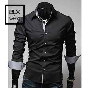 New Fashion Mens Luxury Stylish Casual Dress Shirts Long Sleeve Slim Fit Shirt Men Black / M