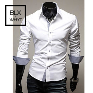 New Fashion Mens Luxury Stylish Casual Dress Shirts Long Sleeve Slim Fit Shirt Men White / M