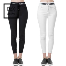 Load image into Gallery viewer, New Fashion Women Casual Pants Elastic Waist Drawstring Slim Pencil Trousers Black/white S / Black