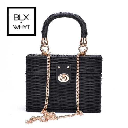 New Rattan Black Straw Shoulder Bag Women Hand-Woven Messenger Summer Beach Square Box Straw Handbag