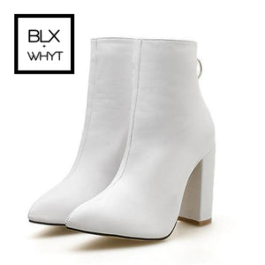 New Women Ankle Boots Roman High Heels Square Heel Booties Fashion Brand Design Ladies Party Shoes