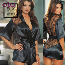 Load image into Gallery viewer, Olo Babydolls Sexy Lingerie Sleepwear Erotic Underwear Exotic Apparel Black Lace Robe Night Gown