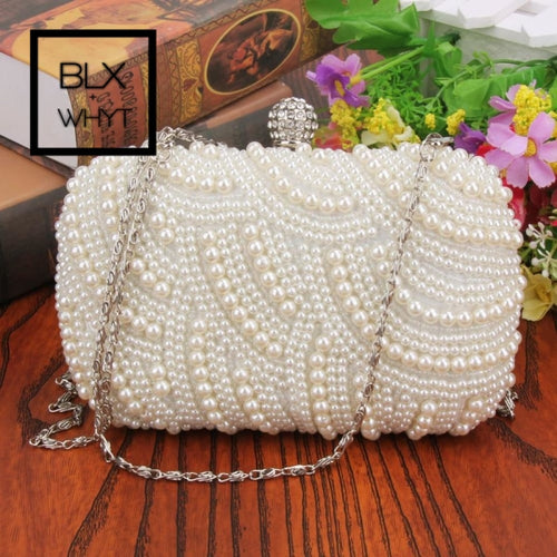 Oval Shaped Pearl Beaded Handbag Women White Clutch Bag Elegant Long Chain Shoulder Handbags Wedding
