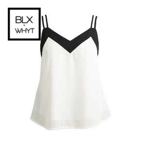 Sexy Women Chiffon Cami Tank Top Strap Contrast V-Neck Sleeveless Vest Camisole Black/white S /