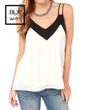 Load image into Gallery viewer, Sexy Women Chiffon Cami Tank Top Strap Contrast V-Neck Sleeveless Vest Camisole Black/white Xxxxxl /