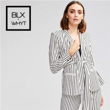 Load image into Gallery viewer, Shein Belted Striped Shawl Collar Buttoned Cuff Blazer And Slant Pocket Buckle Pants Sets Women
