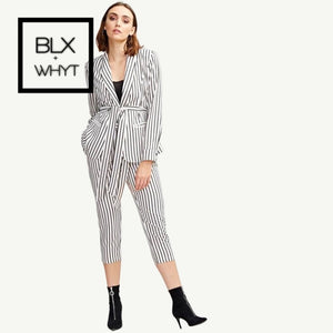 Shein Belted Striped Shawl Collar Buttoned Cuff Blazer And Slant Pocket Buckle Pants Sets Women