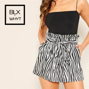 Shein Black And White Belted Frilled Trim Waist Zebra Print Shorts 2019 Women High Loose Casual