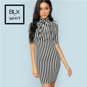 Shein Black And White Office Lady Elegant Bow Tie Neck Striped Natural Waist Pencil Dress 2018