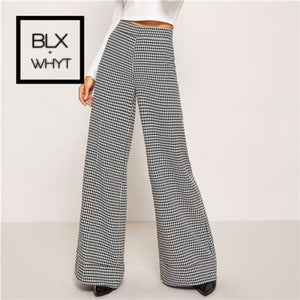 Shein Black And White Zip Up Plaid Houndstooth Wide Leg Flare Low Waist Pants 2018 Autumn Casual
