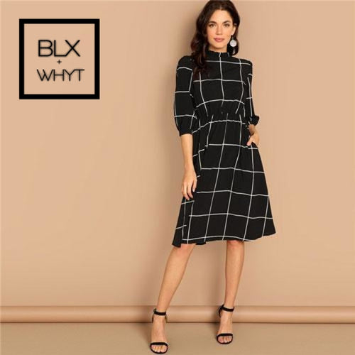 Shein Black Frilled Neck Plaid Print Women Casual Midi Dress 2019 Spring Stand Mid Waist A Line