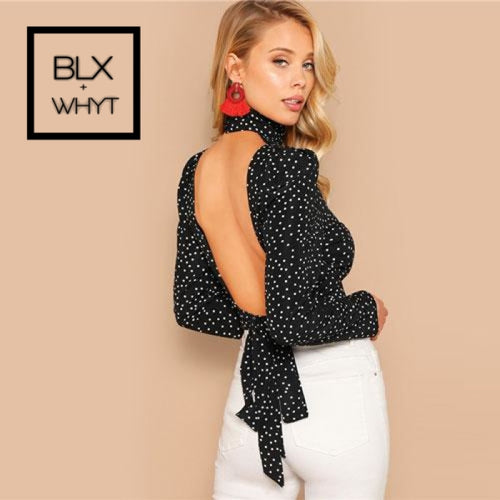 Shein Black Sexy Bow Knot Open Back Polka Dot Print Crop Blouse Women Spring High Neck Backless