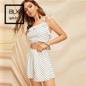 Shein Boho White Knot Back Polka Dot Top And Shorts Set Women Two Pieces Sets 2019 Summer Scoop Neck