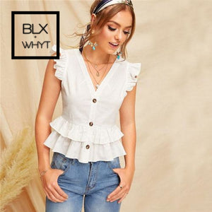 Shein Button Front Layered Ruffle Trim Sleeveless White Blouse Ladies Tops Summer Casual V Neck Slim