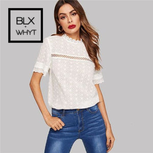 Shein Eyelet Embroidered Lace Insert Mock Neck White Blouse Summer Stand Collar Bohemian Cotton