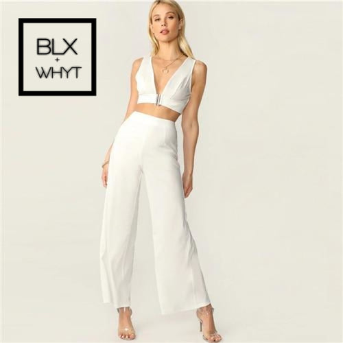Shein Plunging Neck Top And High Waist Palazzo Pants Set White Solid Sexy Sleeveless 2 Piece Women