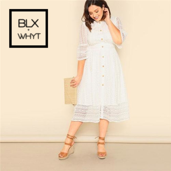 Shein Plus Size Lady Romantic White Button Front Lace Overlay Maxi Dress Spring Elegant High Waist