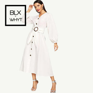 Shein White Bishop Sleeve Button Up Self Belted Dress Elegant Fit And Flare V Neck Solid Women