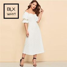 Load image into Gallery viewer, Shein White Button Front Ruffle Puff Sleeve Jacquard Bardot Plain Long Dress 2019 Spring A Line Off