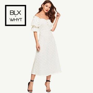 Shein White Button Front Ruffle Puff Sleeve Jacquard Bardot Plain Long Dress 2019 Spring A Line Off