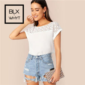 Shein White Guipure Lace Yoke Roll Up Sleeve Tunic Top Hollow Out Blouse Women Summer Elegant Office