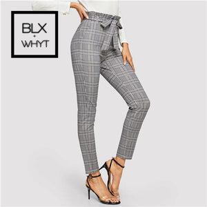 Sheinside Grey Paperbag High Waist Plaid Cigarette Pants Elegant Women Trousers With Belt 2019