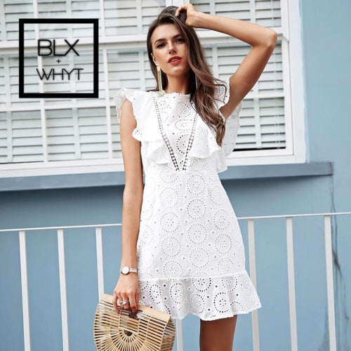 Simplee Embroidery Cotton White Dress Women Ruffle Sleeve High Waist Short 2018 Keyhole Back Casual
