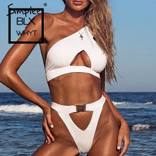 Load image into Gallery viewer, Simplee One Shoulder Women Bodysuit Push Up Sexy White Swimwear Bathing Suit Buckle Thong Bikini