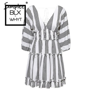 Simplee V Neck Striped Ruffle Summer Dress Women High Elastic Waist Dresses Plus Size Vintage White