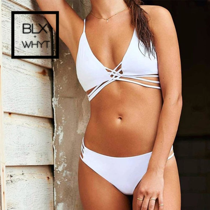 Solid White Sexy Bikini 2019 Two Piece Swimwear Women Push Up Monokini Padded Set Bathingsuit