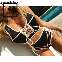 Load image into Gallery viewer, Sporlike Blcak White Lace High Waist Swimsuit Bikini Set 2017 Sexy Solid Bikinis Women Push Up